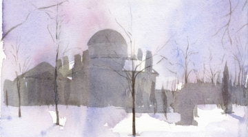 Chiswick House Early Morning 2 - watercolour