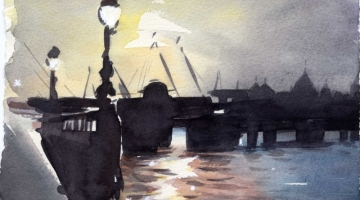 Embankment Bridge - watercolour